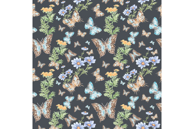 Blue butterflies watercolor seamless pattern. Insects, meadow flowers