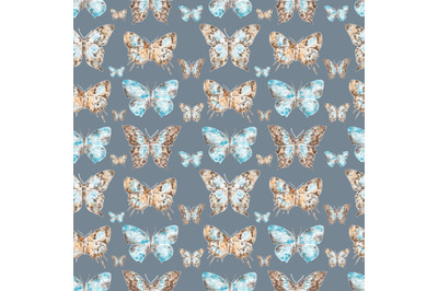 Butterflies watercolor seamless pattern. Vintage. Insects.