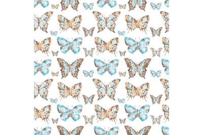 Vintage butterflies watercolor seamless pattern. Insects. Collection.