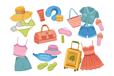 Travel stuff. Traveller suitcase, doodle fashion shoes and clothes. To