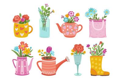 Wild garden bouquets. Wildflowers, herbs bunch in vases. Floral branch