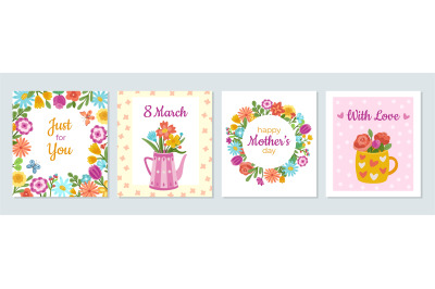 Floral woman cards. Love banner, womens day flowers bouquet flyers tem