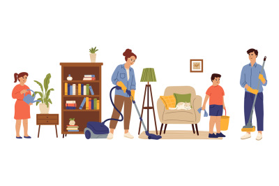 People cleaning home. Family living room, mom daughter doing house wor