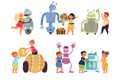 Kids robot programming. Toy robots coding, child with electronic chara