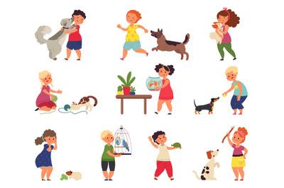 Children and pets characters. Cartoon friends, happy kids hugging anim