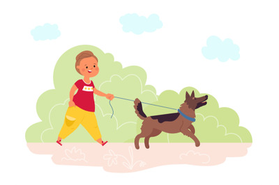 Walking dog in park. Summer outdoor walk, pet and child run together.