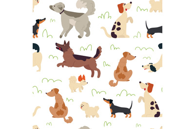 Cute dogs pattern. Animal seamless background, doodle trendy pets. Dra