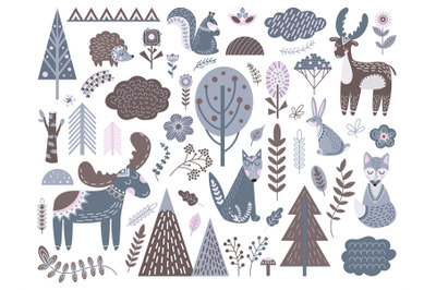 Scandinavian forest. Fashion nordic graphic, cute animals floral eleme