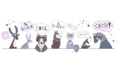Cute nursery banner. Children animals, draw positive phrases. Childish