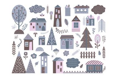 Cute scandinavian buildings. Abstract architecture, city landscape ele