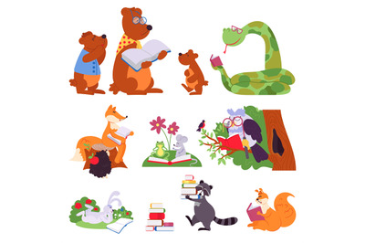 Animals reading. Bird animal read book, cute cartoon forest wild chara