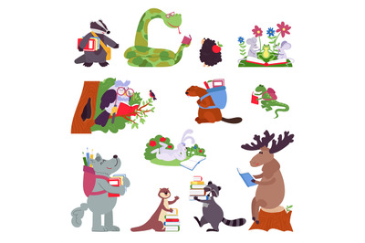 Smart animals. Wild animal with books, funny forest characters read. I