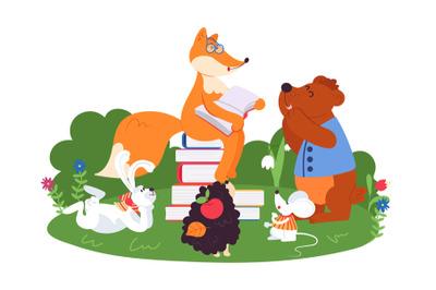 Animal friends reading. Fun animals school, bear fox rabbit read book.