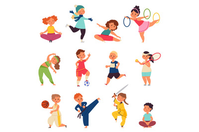 Different sport kids. Physical activity characters, small children doi