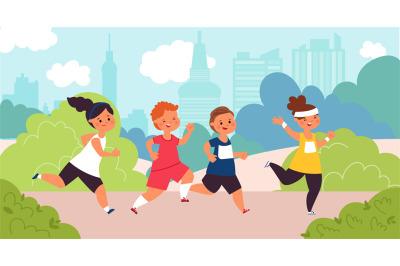 Children marathon. Kids run, speed race boy. Outdoor running competiti