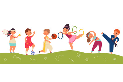 Happy sport children. Kids team, happy child and soccer ball. Isolated