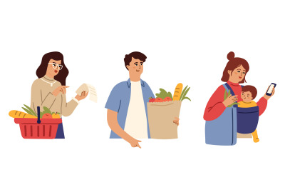 After grocery store. People buy food, fresh market goods. Young mother