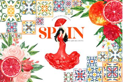 Spain. Tiles Watercolor Clipart