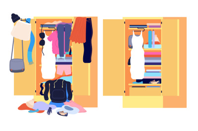 Wardrobe mess. Messy cloth, before after home clothes organization. Op