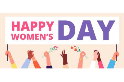 Women day concept. Woman flag, girls hands holding festive banner. Fem