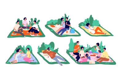 Picnic on nature. Family vacation, picnics spring or summer. People ea