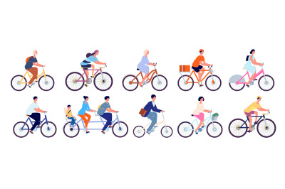 Cyclists characters. Fun active woman, cyclist ride bicycle outdoor. F