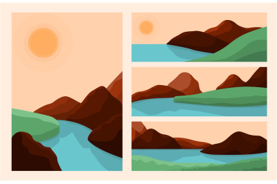 Trendy style landscapes. Art landscape, abstract mountain river graphi