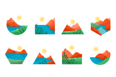 Natural modern landscape. Landscapes shapes, abstract art mountain. Ae