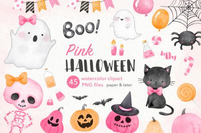 Pink Halloween Watercolor Clipart, Cute Pastel Halloween Girl PNG
