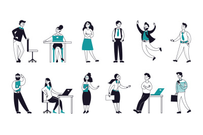 Outline business characters. Happy flat persons, linear smiling work p