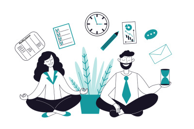 Business meditation characters. Female relax, businesswoman in yoga po