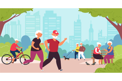 Elderly in park. Old people, senior healthy nature lifestyle. Retired