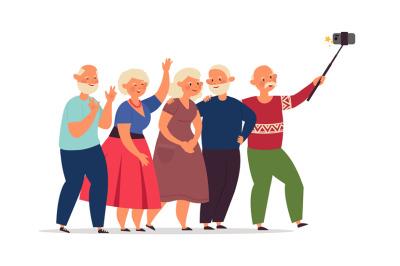 Seniors group. Old people, elderly friends together doing selfie. Happ