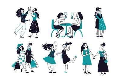 Female friendship. Girls friends together, women drink wine hugging me