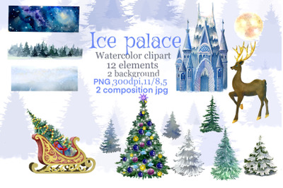 Christmas clipart Ice palace watercolor, Christmas blue winter, Snow h