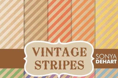 Digital Papers Vintage Stripe Patterns