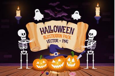 Halloween Pumpkins and Skeletons