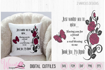 Thank you my Friend, pillow quote with Roses svg