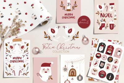 Festive Christmas pattern & clipart