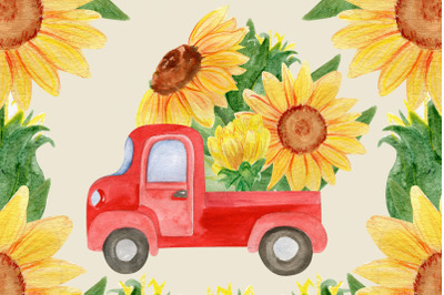 Funny red truck, Sunflower png for watercolor card
