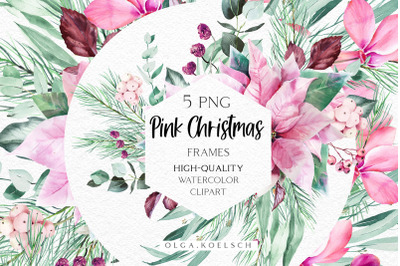 Watercolor Pink Christmas frames clipart, Pink poinsettia eucalyptus