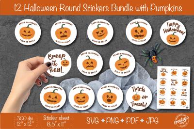 Halloween stickers. Pumpkin Round Stickers. Spooky stickers