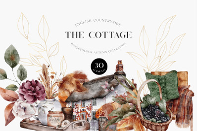 Autumn Watercolor Collection Cottage Animals Leaves Gold PNG