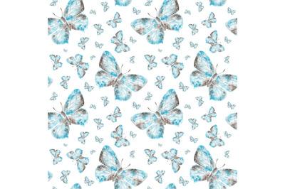 Butterflies watercolor seamless pattern. Gray and blue butterflies.