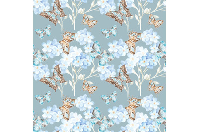 Butterflies and forget-me-nots watercolor seamless pattern. Insects.
