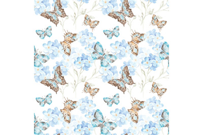 Flowers and butterflies watercolor seamless pattern. Insects. Female