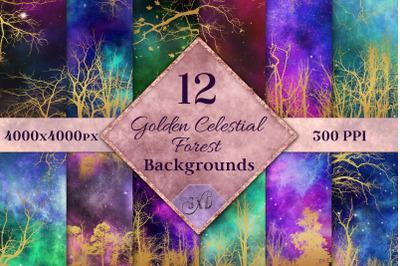Golden Celestial Forest Backgrounds - 12 Image Textures Set