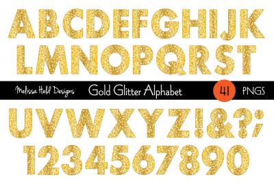 Gold Glitter Digital Alphabet