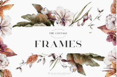 Autumn Watercolor Floral Leaves Frames Wreaths PNG
