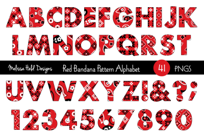 Red Bandana Pattern Alphabet
